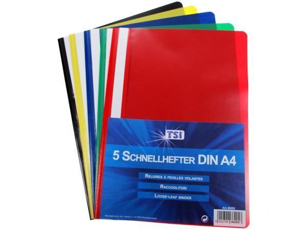Schnellhefter pp a4-5 Stück im Set schwarz, gelb, rot, grün und blau