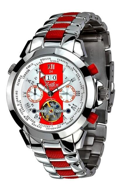 Automatik Uhr aus Edelstahl in rot und silber