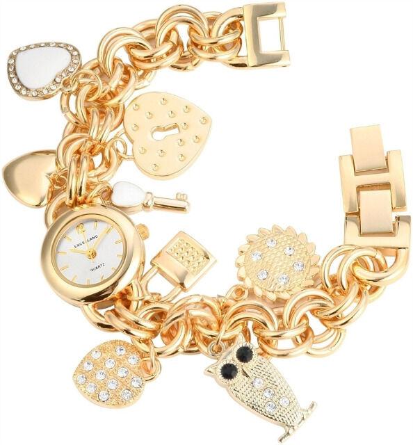 Damenuhr mit Metallkettenarmband und Accessoires goldfarbe