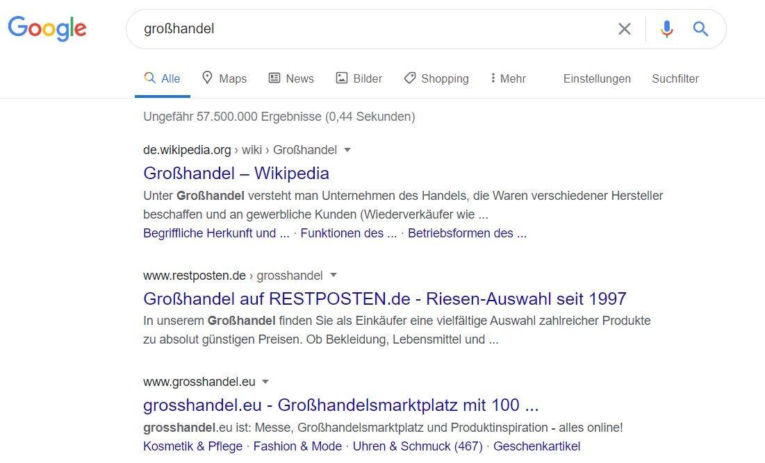 google suchergebnis grosshandel