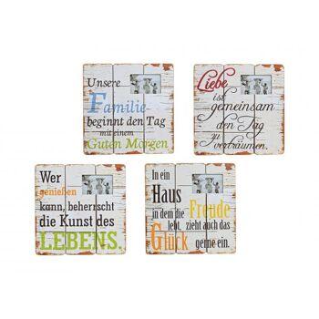 Schild Sprüche aus Holz Fotorahmen, 4-fach sortiert, B39 x T39 cm