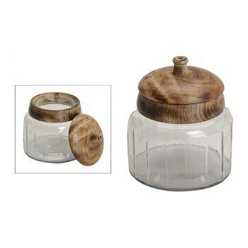 Vorratsdose aus Glas mit Mango Holz Deckel (B/H/T) 11x14x11cm Ø11cm