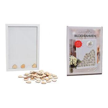 Bilderrahmen Gästebuch Herz aus Holz Weiß 81er Set, (B/H/T) 30x42x2cm inkl. 80 kleinen Herzen zum selber beschriften, 4x4cm