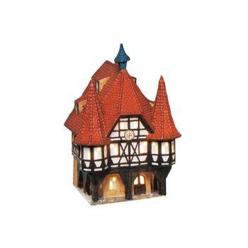 Lichthaus Rathaus Michelstadt aus Porzellan, B14 x T13 x H19 cm