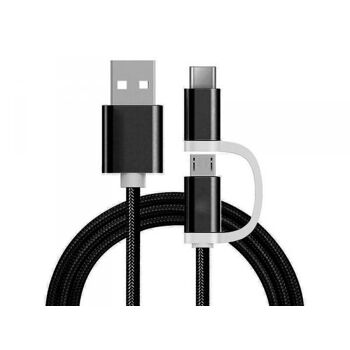 Reekin 2 in 1 Ladekabel (USB Micro - Type-C) - 1,0 Meter (Schwarz-Nylon)