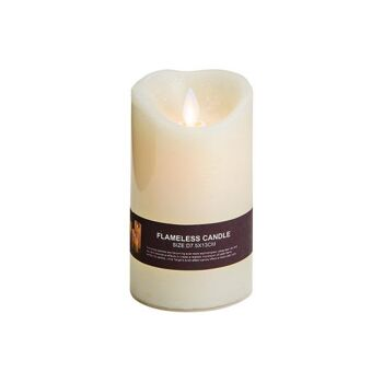Kerze mit LED aus Wachs Weiß (B/H/T) 7x13x7cm