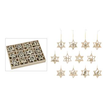 Weihnachtshänger Sterne aus Holz Natur 12-fach, (B/H) 6x6cm
