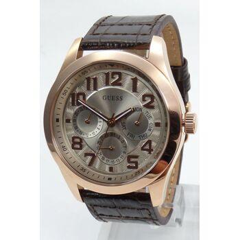 Guess Uhr Uhren Herrenuhr Multifunktion W0597G1 Breaker Leder braun